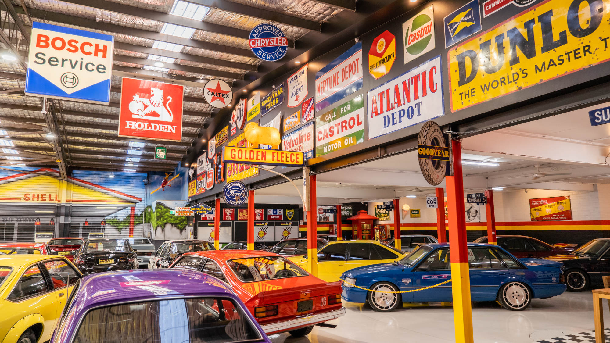 Muscle Car Warehouse Interior Banner