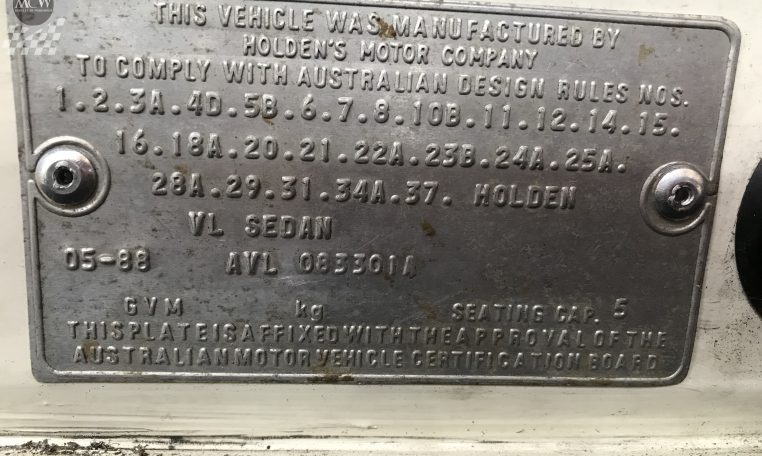 Holden Commodore VL Brock Replica Certification Number | Muscle Car Warehouse