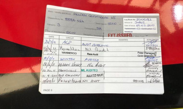 Holden VE V8 Supercar Race Car 2010 Log Book | Muscle Car Warehouse