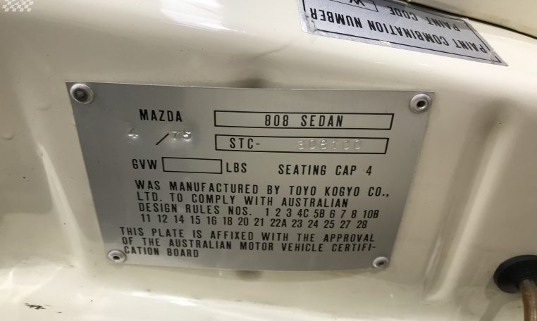 Mazda 808 Model Number   Muscle Car Warehouse